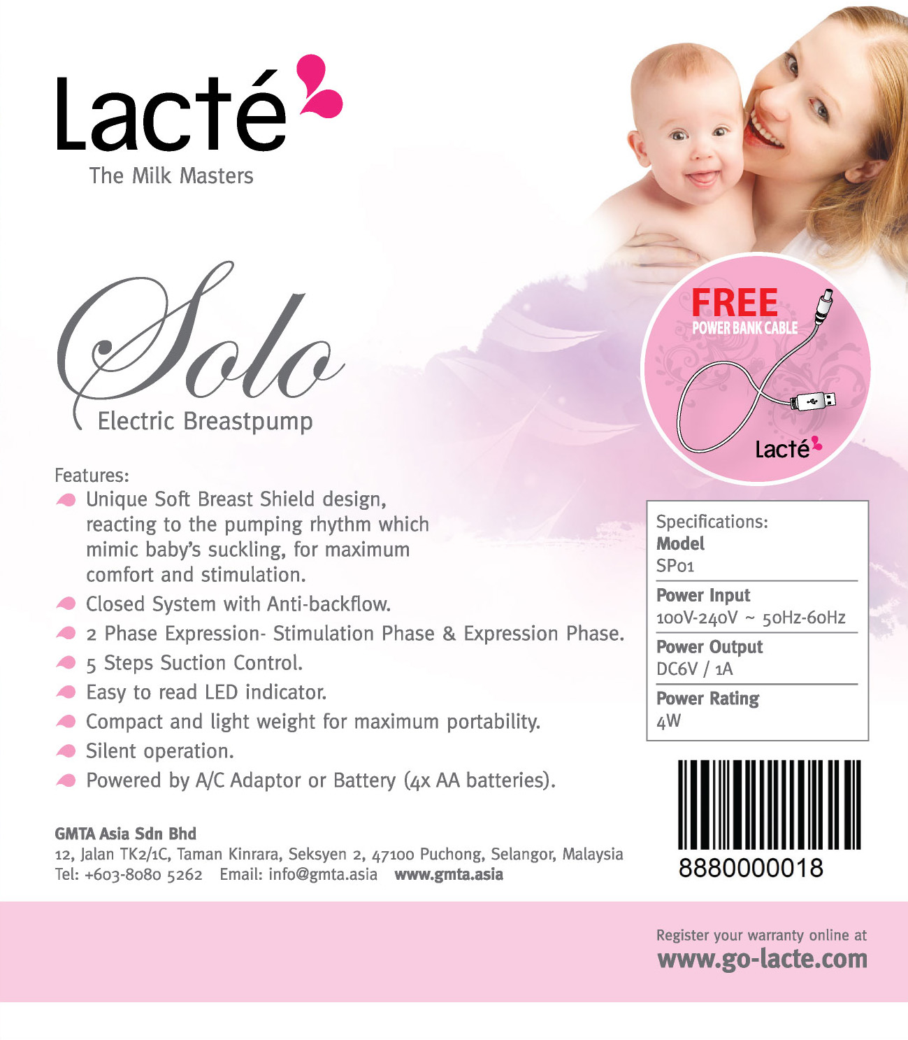 Lacte Solo Single Electric Breast Pump