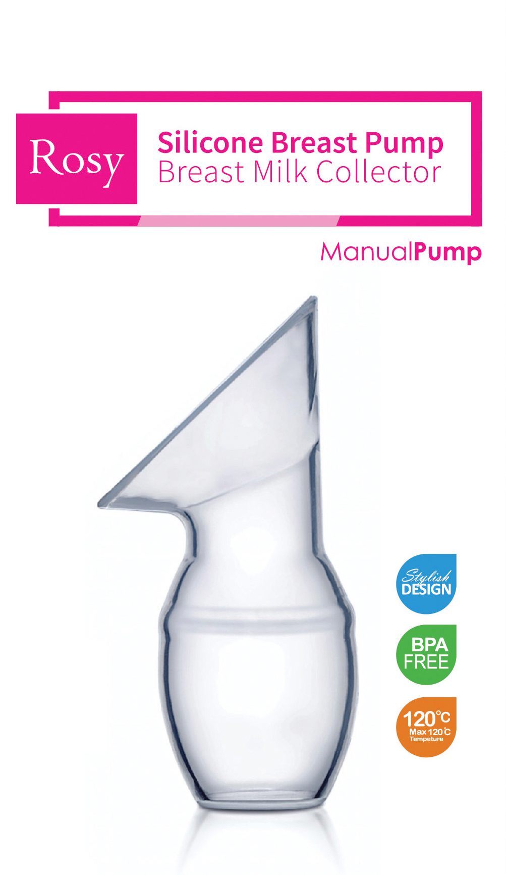 Rosy PumpOnTheGo Manual Silicone Breast Pump