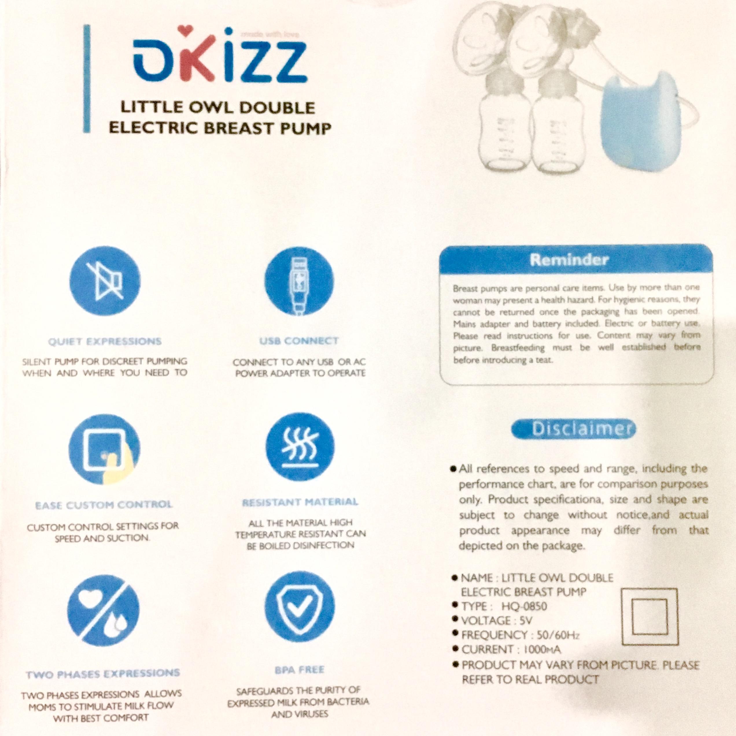 Okizz Owl Double Breast Pump